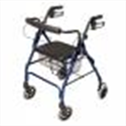 Lumex Walkabout Lite Four-Wheel Rollator, 300lb Weight Capacity, Blue - Image Number 32787